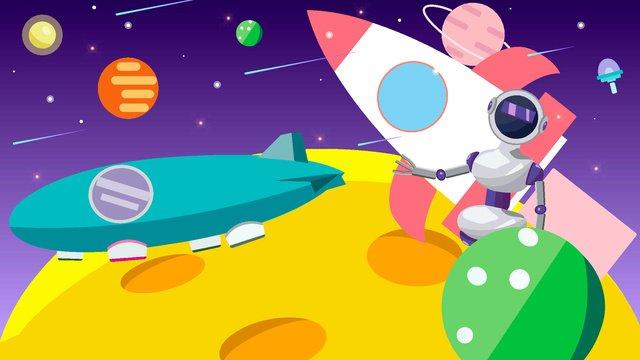 Artificial intelligence robot space walk, Robot, Space, Planet illustration image