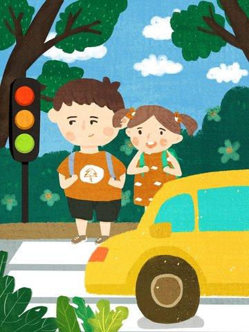 安全な旅行、文明化された交通、通りを渡る子供たち、オリジナルの手描きイラスト イラストレーション画像 イラスト画像
