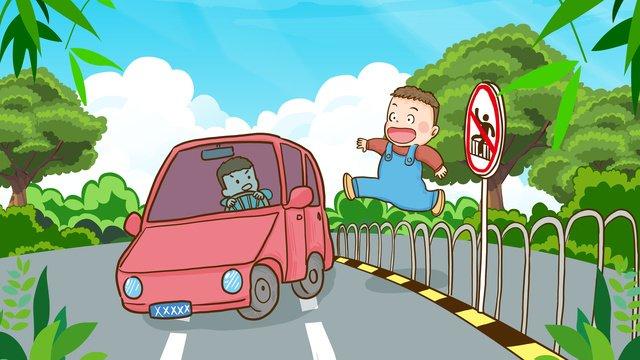 安全移動文明交通禁止横断歩道を渡る手描きイラスト イラスト素材