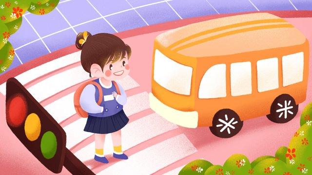 道路の少女イラストを横断する安全な旅行 イラスト素材