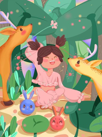 Lin shen see deer cure shrub girl playing green tone illustration, See The Deer When Lin Shen, Cure, Shrub illustration image