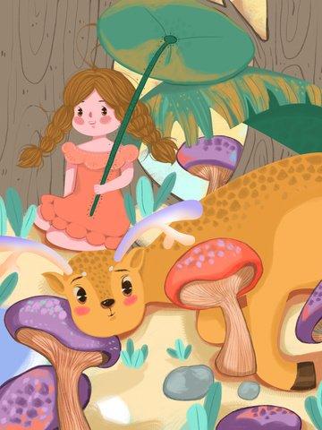 Lin shen see deer cure girl lotus leaf stone mushroom illustration, See The Deer When Lin Shen, Deer, Girl illustration image