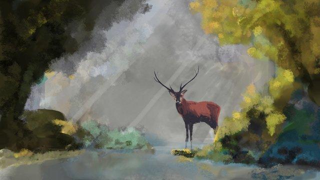 सुबह जंगल के पानी का इलाज करते हुए हिरण चित्रण छवि चित्रण छवि