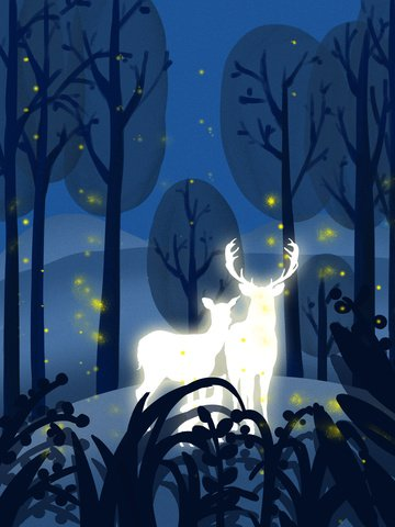 Lin shen sees the deer small fresh healing system hand-painted illustration, See The Deer When Lin Shen, Night, Firefly illustration image