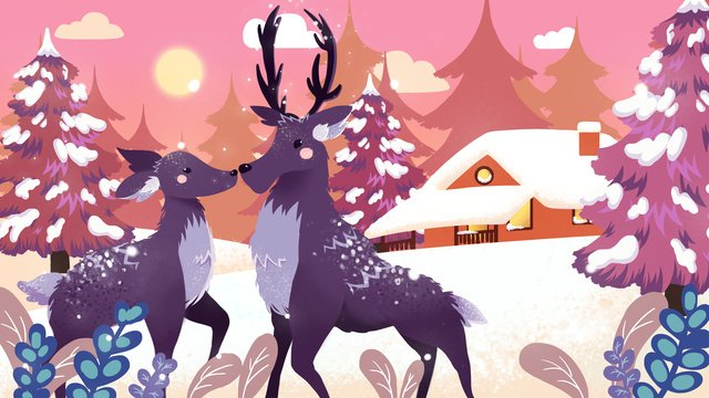 Lin shen sees deer pink dusk romantic fawn, See The Deer When Lin Shen, Pink, Dusk illustration image