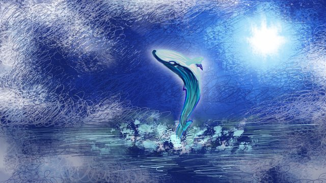 바다가 파랗게되면 바다 표면의 고래를보세요 삽화 소재