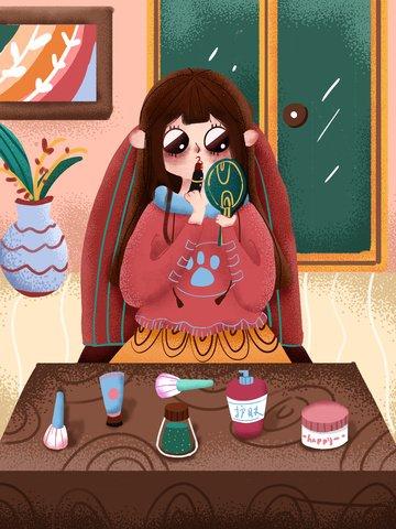 거울에 립스틱을 바르는 스킨 케어 뷰티 소녀 삽화 이미지