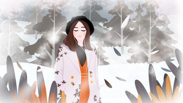 Original winter whisper snow girl llustration image