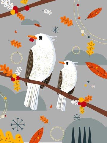 Natural imprinted sparrow branch illustration, Sparrow, Leaves, Branch illustration image