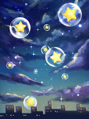 Original healing starry sky illustration, Starry Sky, Bubble, City illustration image