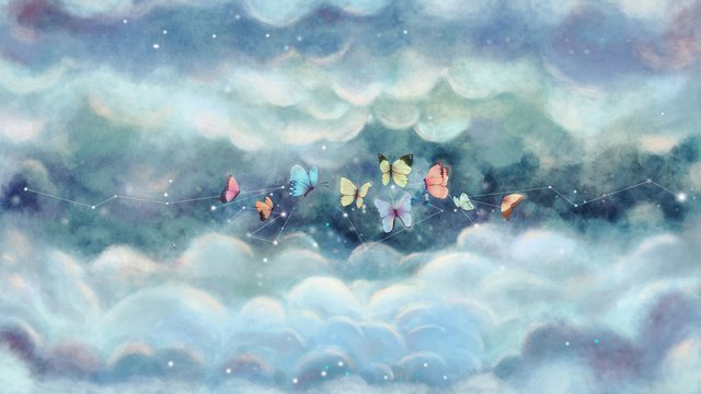 Original illustration butterfly dream starry sky, Starry Sky, Butterfly, Dream illustration image