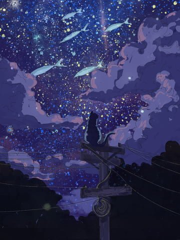 私の干し魚と星空写本星空  猫かわいいペットを直そう  手描き PNGおよびPSD イラスト画像