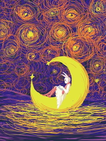 Starry illustration cures the impression of a rabbit coil on moon, Starry Sky Illustration, Healing, Coil Impression illustration image