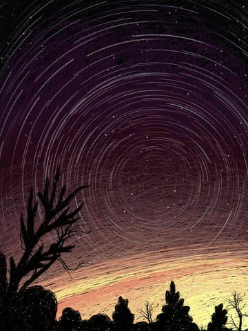 Starry illustration cure coil painting, Starry Sky, Illustration, Healing illustration image
