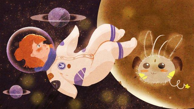 original starry illustrator little girls fantasy space journey llustration image illustration image