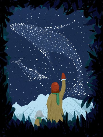 Starry sky illustration Healing Looking at the stars whale, Illustration, Hand Painted, Snow Mountain illustration image