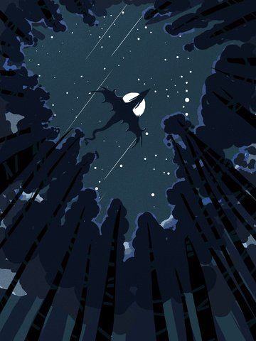Starry illustration healing looking up at the sky, Starry Sky Illustration, Healing, Looking At The Stars illustration image