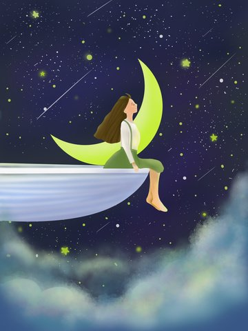 Star girl cure illustration dreamy beautiful cloud spaceship, Starry Sky, Star, Moon illustration image