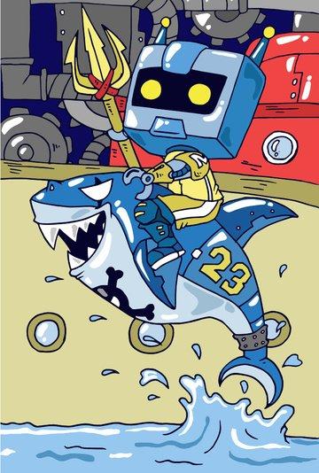 tide man ilustrasi kapal hiu laut robot fork boat cruise gear imej keterlaluan