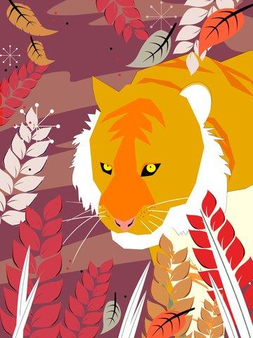 Original card ventilation illustration natural imprint tiger, Tiger, Siberian Tiger, South China Tiger illustration image