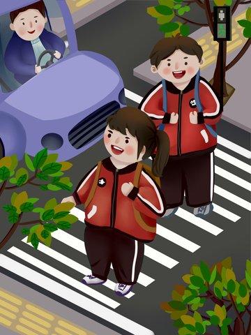 car driver civil ritual let the pupils cross road llustration image