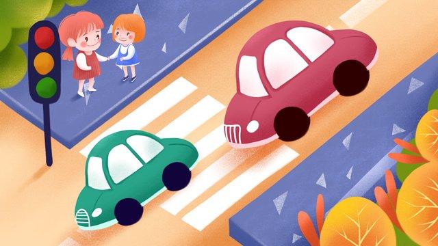 交通安全および他の信号機の姉妹が道路図を横切る交通安全  交通  安全な旅行 PNGおよびPSD illustration image