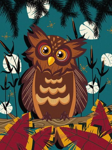 Naturally imprinted owl cure illustration, Trend, Natural Imprint, Leaves illustration image