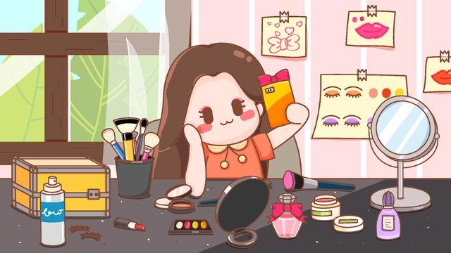 矢量護膚化妝自拍少女插畫 插畫素材
