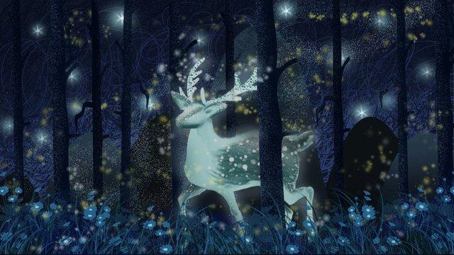 ヘラジカの星空の森の花の散歩 イラストレーション画像 イラスト画像