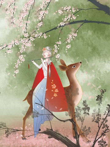 Original chinese style small fresh illustration see deer, Wallpaper, Chinese Style, Antiquity illustration image