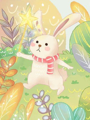 जल रंग पवन परी मो जादू खरगोश चित्रण छवि