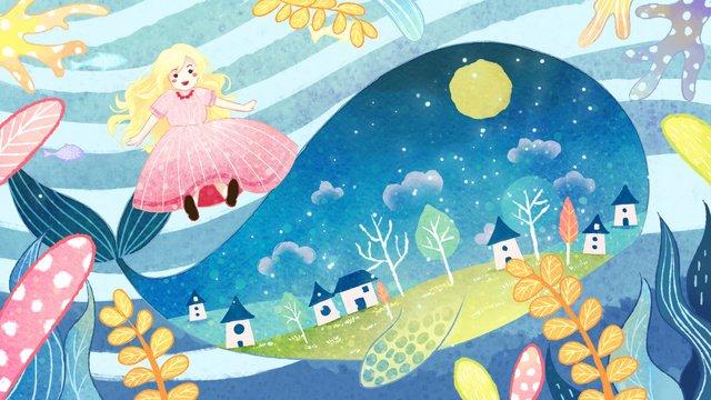 màu nước gió cổ tích cá voi và cô gái Hình minh họa