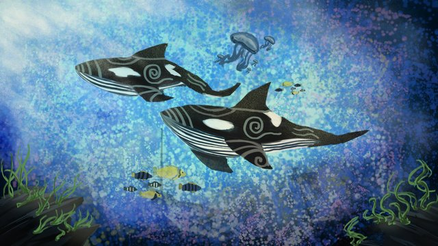When the sea is blue see whale bottom killer fantasy water world original illustration, Whale, Fish, Jellyfish illustration image