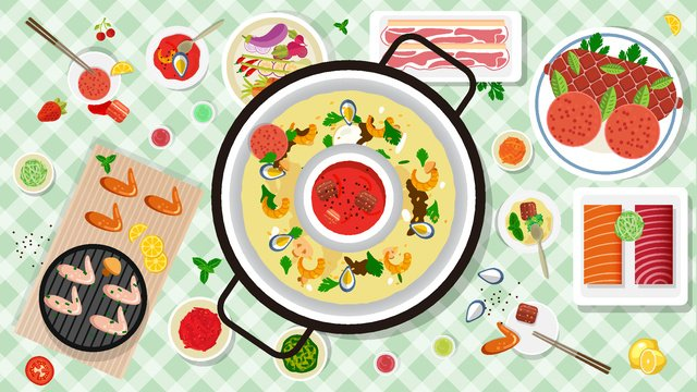 winter food family buffet hot pot barbecue llustration image illustration image