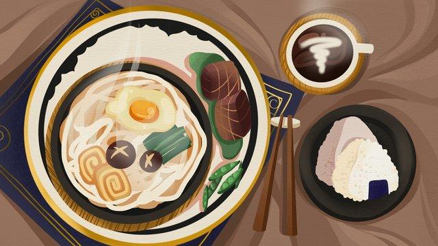 冬の食べ物暖かい麺とおにぎり暖かく繊細なリアルなイラスト イラスト素材 イラスト画像