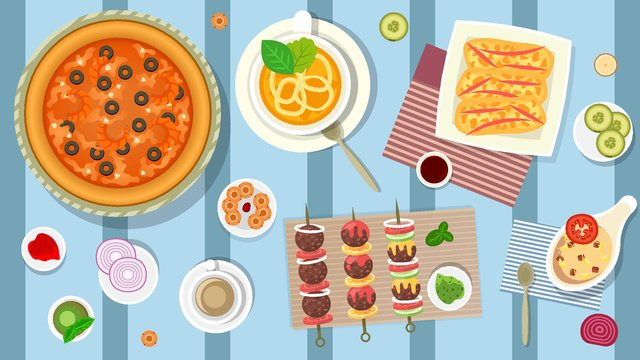 Winter food happiness package, Winter Food, Pizza, Kebab illustration image