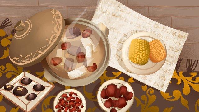 thực phẩm mùa đông sườn đỏ táo tàu súp minh họa ấm áp Hình minh họa Hình minh họa