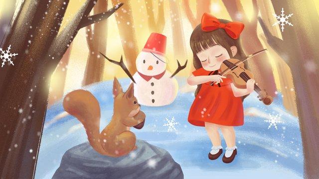 치유 따뜻한 음색 겨울 소녀 숲에서 바이올린 연주 삽화 소재
