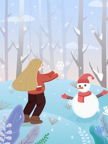 야생에서의 안녕 겨울 소녀 삽화 소재