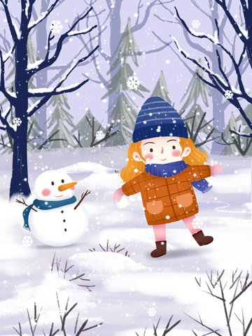 small fresh winter whispering snowman and girl illustration illustration image