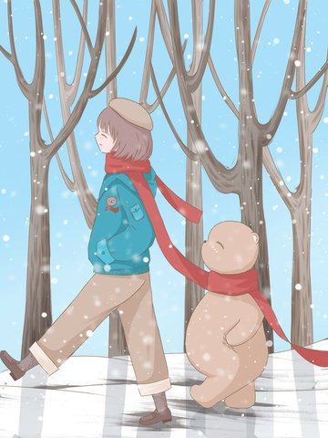 winter solstice illustration of a girl and cub walking in the woods llustration image illustration image