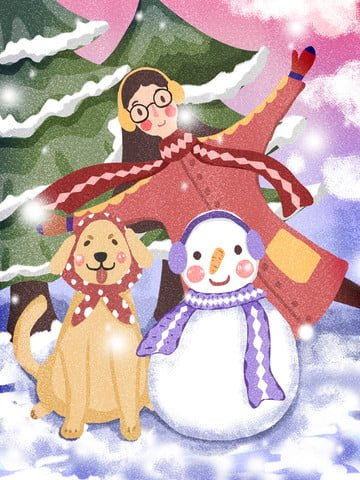 winter whispering snowman and dog playing snowy day illustration image