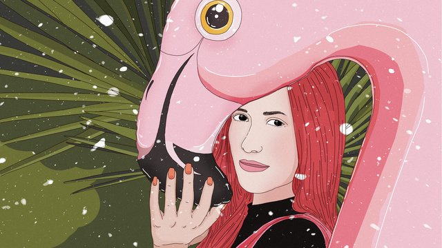 Original winter whisper pink flamingo girl hand drawn illustration llustration image
