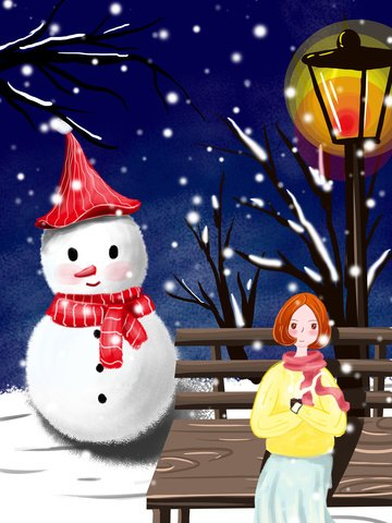 가로등 아래 겨울 속삭이는 소녀 삽화 소재