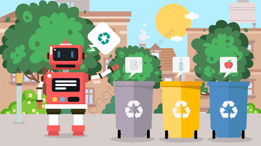 Environmentally Friendly Robot Waste Sorting Education Science, Caring For The Environment, Environmental Protection, Robot llustration image
