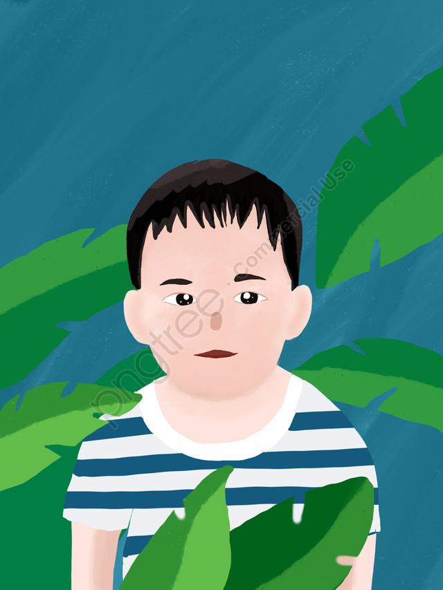 Chubby little boy illustration, Fat Man, Chubby Toot, Little Boy llustration image