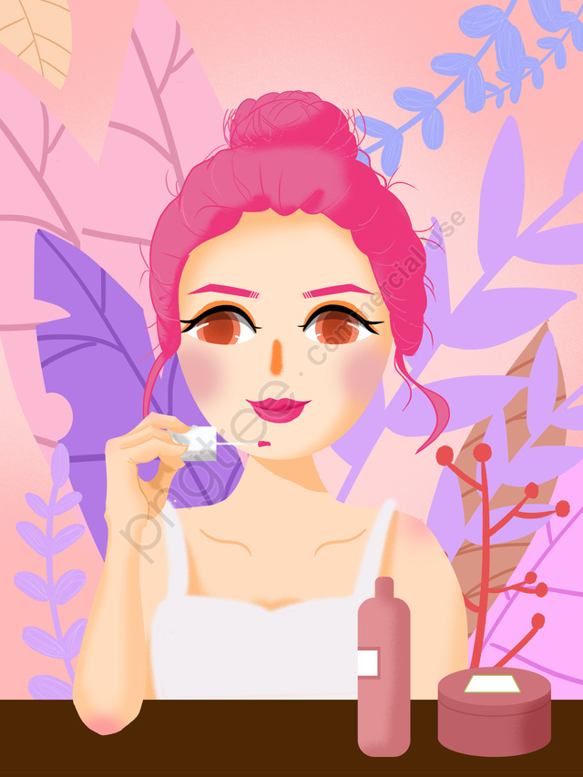 Original Texture Illustrator Girls Beauty Diary, Makeups, Beauty Skin, Makeup Girl llustration image