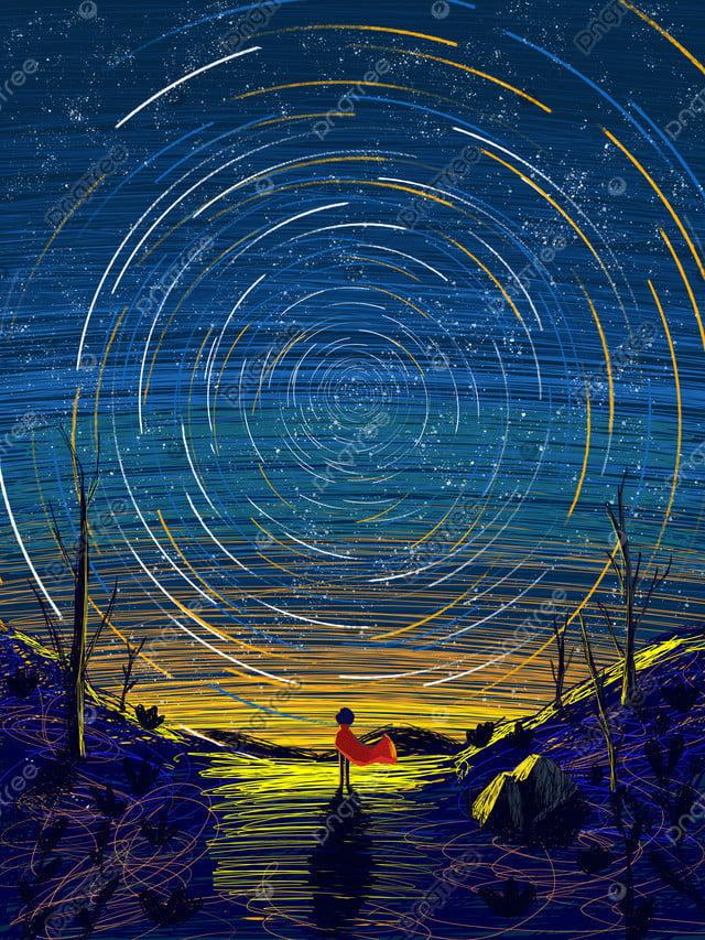 कुंडल अद्भुत तारों का आकाश चित्रण, तारों वाला आकाश, कुंडल चित्रण, पेड़ llustration image