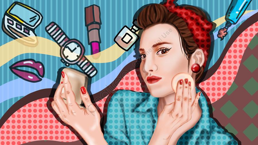 少女美容肌日記化粧品リアルポッパー美しい美容パフ, 10代の少女, 美容肌, 日記 llustration image