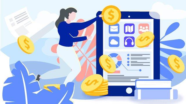 Blue flat wind business office finance tablet vector illustration, App Splash Screen, Startup Page, Mobile Phone With Picture illustration image